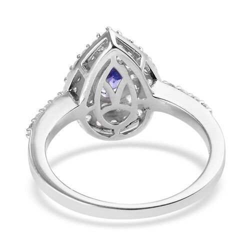 Tanzanite (Pear), Natural Cambodian Zircon Ring in Platinum Overlay Sterling Silver 0.96 Ct.