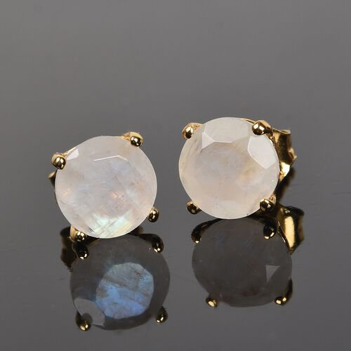 AA Rainbow Moonstone (Rnd) Stud Earrings (with Push Back) in 14K Gold Overlay Sterling Silver 2.750 Ct.