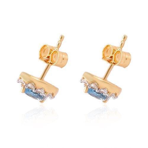 Santa Maria Aquamarine and Natural Cambodian Zircon Stud Earrings (with Push Back) in 14K Gold Overlay Sterling Silver 1.00 Ct.