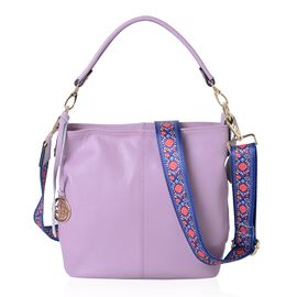 SUMMER COLLECTION 100% Genuine Leather Lilac City Tote with Two Removable Handle (Size 26x23x9.5 Cm)