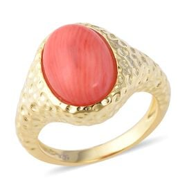 Bamboo Coral (Ovl 14x10 mm) Ring in Yellow Gold Overlay Sterling Silver