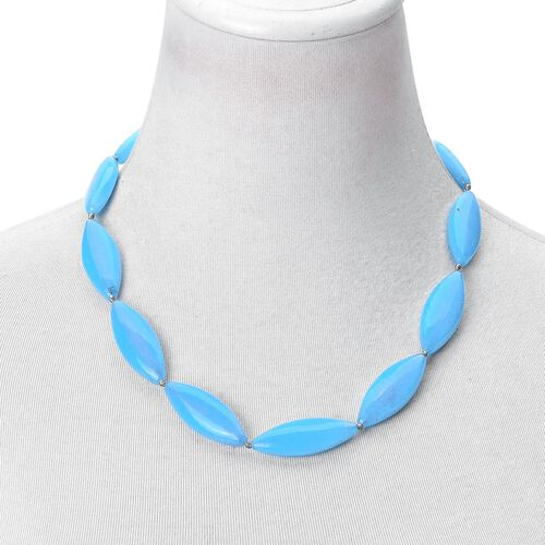 Blue Quartzite Necklace (Size 20 with 2 inch Extender) in Silver Tone 400.000 Ct.