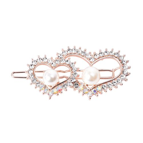 Set of 3 - White Austrian Crystal Peacock, Heart and Butterfly Shape Hair Clips with Gift Box in Gold Tone (Size 6-6.5 Cm)