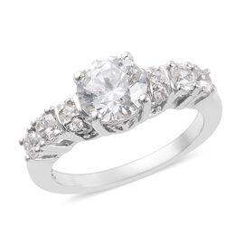 J Francis Made with SWAROVSKI ZIRCONIA Solitaire Ring in Platinum Plated Sterling Silver