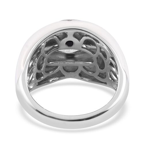 GP - Blue Sapphire Enamelled Lips Ring in Platinum Overlay Sterling Silver