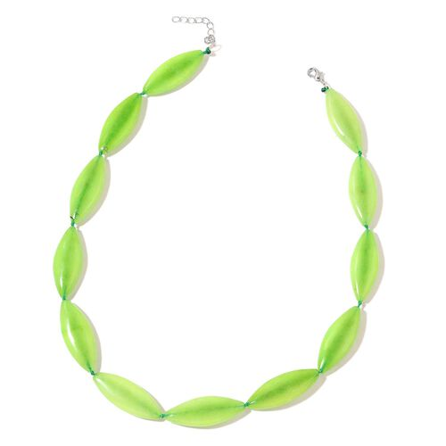Green Quartzite Necklace (Size 20 with 1.5 inch Extender) in Silver Tone 395.000 Ct.