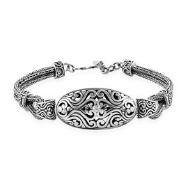 Bali Legacy Zircon Tulang Naga Bracelet in Silver 20.02 Grams 7.5 Inch