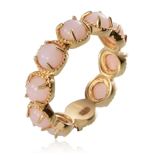 Peruvian Pink Opal (Rnd) Full Eternity Ring in Yellow Gold Overlay Sterling Silver 4.500 Ct.