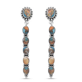 Santa Fe Collection - Spiny Turquoise Earrings (with Push Back) in Rhodium Overlay Sterling Silver 8