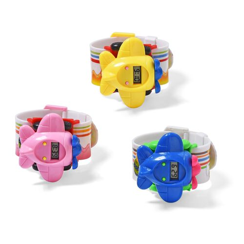 3 Piece Set - Pink, Yellow and Blue Airplane Cartoon Designer LED Electronic Watch with Water Resistant in White Silicone Strap