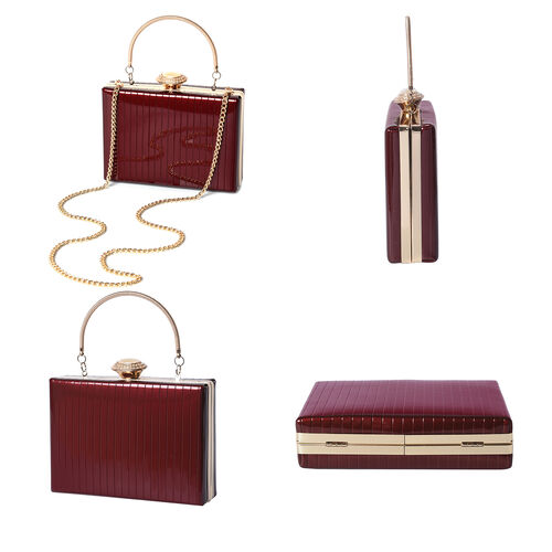 BOUTIQUE COLLECTION Burgundy Colour Stripe Pattern Shoulder Bag with Chain Strap and Crystal Studded Top Knob (Size 18x5x13 Cm)