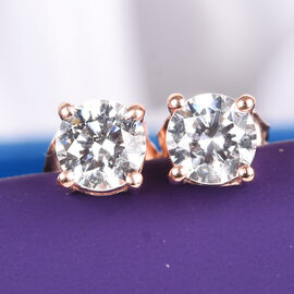 J Francis Swarovski Zirconia Rose Gold Overlay Sterling Silver Stud Earrings (with Push Back) 2.00 Ct. Equiv