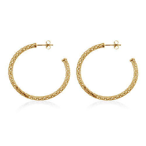 Yellow Gold Overlay Sterling Silver Hoop Earrings (with Push Back), Silver wt 3.00 Gms.