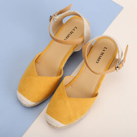 LA MAREY brand high heel espadrilles shoes; Esparto rope sole is the defining characteristic of an espadrille; Upper portion made up of microfiber; Insole and lining is made up of PU material; Outsole
