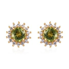 Hebei Peridot (Rnd), Natural Cambodian Zircon Earrings (with Push Back) in 14K Gold Overlay Sterling