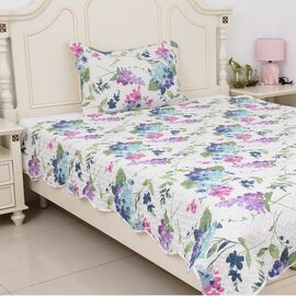 2 Piece Set  - Microfibre Floral Pattern Quilt (Size Double 240x180) and Pillow Case (Size 70x50 Cm)