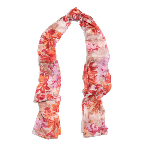 100% Mulberry Silk Red, Pink and Multi Colour Floral Printed Scarf