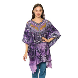 Purple, Black and Multi Colour Digital Printed Kaftan One Size (90x75 Cm)