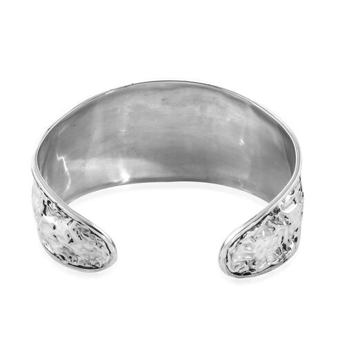 Arizona Sleeping Beauty Turquoise (Round 20 mm) Cuff Bangle (Size 7.5) in Sterling Silver 23.96 Ct, Silver wt 36.90 Gms