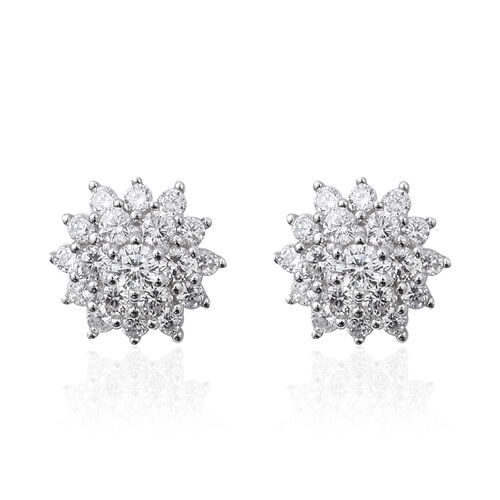ELANZA Simulated Diamond (Rnd) Flower Earrings (with Push Back) in Rhodium Overlay Sterling Silver