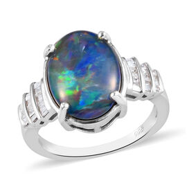 Collectors Edition Australian Boulder Opal (Ovl 14x10mm) and Diamond Ring in Platinum Overlay Sterli