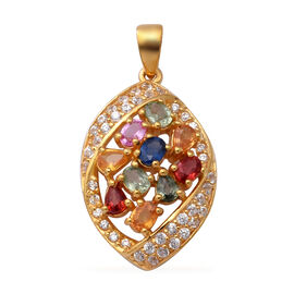 Rainbow Sapphire and Natural Cambodian Zircon Pendant in Yellow Gold Overlay Sterling Silver 3.10 Ct