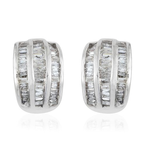 Diamond (Bgt) Stud Earrings (with Push Back) in Platinum Overlay Sterling Silver 0.500 Ct. Number of Diamonds 102