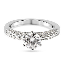 Moissanite Ring in Rhodium Overlay Sterling Silver 1.34 Ct.