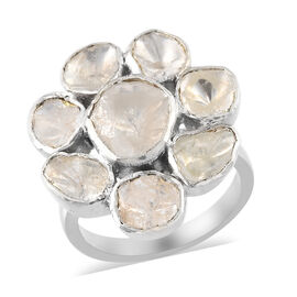 Artisan Crafted Polki Diamond Ring in Platinum Overlay Sterling Silver 1.90 Ct, Silver wt 6.70 Gms