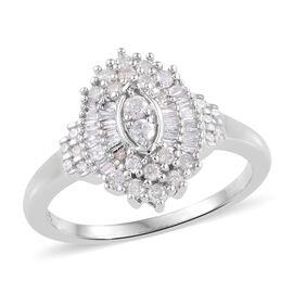 9K White Gold SGL CERTIFIED Diamond (Rnd and Bgt) (I3/ G-H) Ring 0.500 Ct.