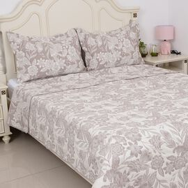 3 Piece Set - Riversible Pique with Floral Jacquard Pattern Beige (Size 260x240 Cm) and 2 Pillow Cov