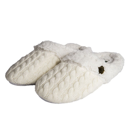 ARAN Knitted Design Slip-on Slippers with Fur Lining (Size:Small 4-5) - White