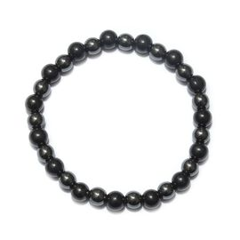 128 Carat Shungite and Hematite Stretchable Beaded Bracelet 8 Inch