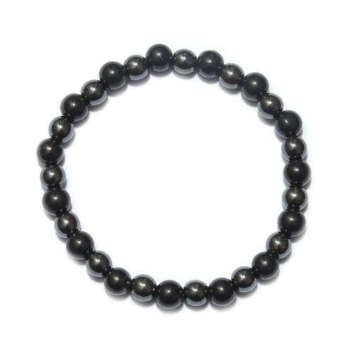 128 Carat Shungite and Hematite Stretchable Beaded Bracelet 8 Inch