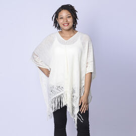 Spring Collection - Solid Cream Colour Hollow Out Poncho with Tassel (Free Size; Length 60Cm)
