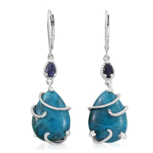Natural Rare Opalina (Pear), Iolite Lever Back Earrings in Platinum Overlay Sterling Silver 17.080 Ct.
