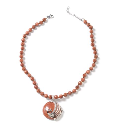 Gold Sandstone (Rnd), White Austrian Crystal Peacock Beads Necklace (Size 18 with 1.5 inch Extender)
