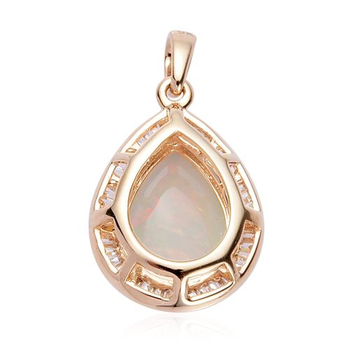 9K Yellow Gold Ethiopian Welo Opal and Diamond Pendant  3.50 Ct.