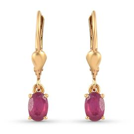 African Ruby Solitaire Lever Back Earrings in 14K Gold Overlay Sterling Silver 1.00 Ct.