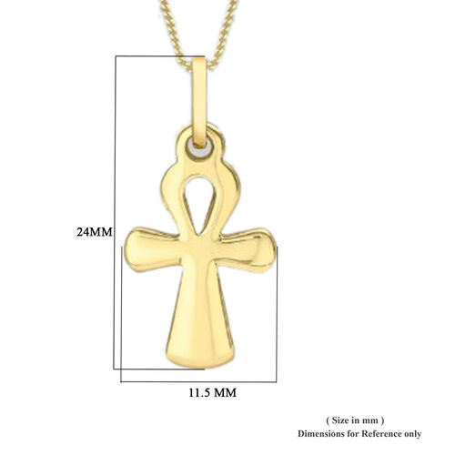 9K Yellow Gold Ankh Cross Pendant, Gold wt 1.30 Gms