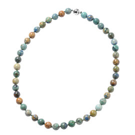 Chrysocolla Beaded Necklace with Magnetic Lock in Rhodium Plated Sterling Silver 20 Inch