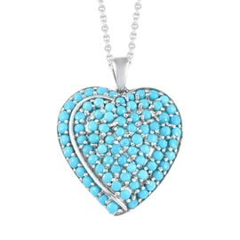 Arizona Sleeping Beauty Turquoise (Rnd) Heart Pendant with Chain in Platinum Overlay Sterling Silver