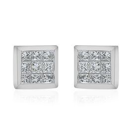 RHAPSODY 950 Platinum IGI Certified Diamond (Sqr) (VS /E-F) Earrings (With Screw Back) 0.500 Ct.