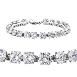 DOD - Simulated Diamond (Rnd) Tennis Bracelet (Size 7.5) in Stainless Steel