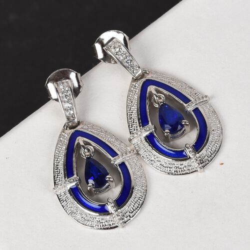 Tanzanian Blue Spinel and Natural Cambodian Zircon Enamelled Dangle Earrings (with Push Back) in Platinum Overlay Sterling Silver 1.00 Ct.
