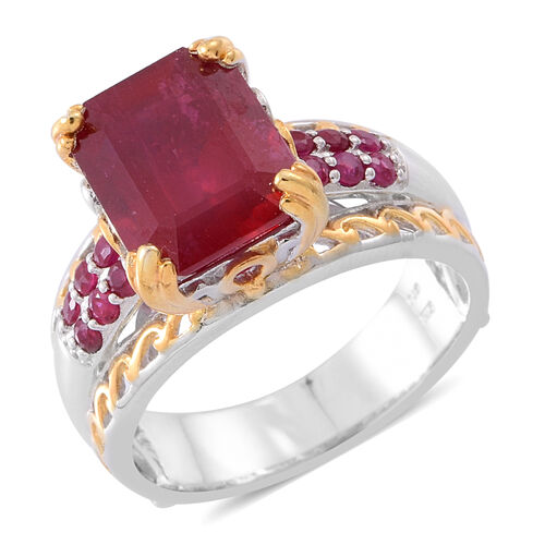 African Ruby (Oct), Burmese Ruby Ring in Rhodium and 14K Gold Overlay Sterling Silver 10.500 Ct. Sil