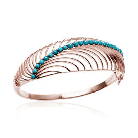 Isabella Liu Sea Rhyme Collection - Arizona Sleeping Beauty Turquoise Bangle (Size 7.5) in Rose Gold