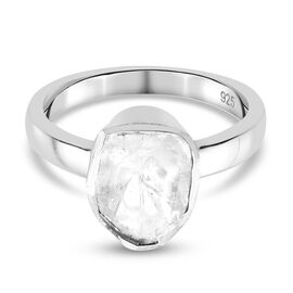 Artisan Crafted Polki Diamond Ring in Platinum Overlay Sterling Silver 0.50 Ct.