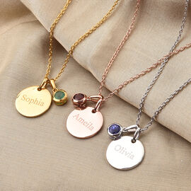 Personalise Engraved Birthstone and Name Disc with 20Inch Chain in Silver