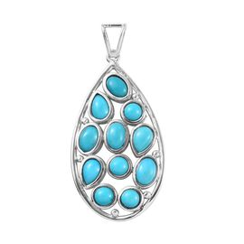 Arizona Sleeping Beauty Turquoise (Pear and Ovl) Cluster Pendant in Platinum Overlay Sterling Silver